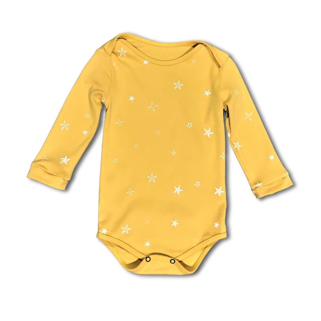 Body Bebê Stars Amarelo Manga Longa