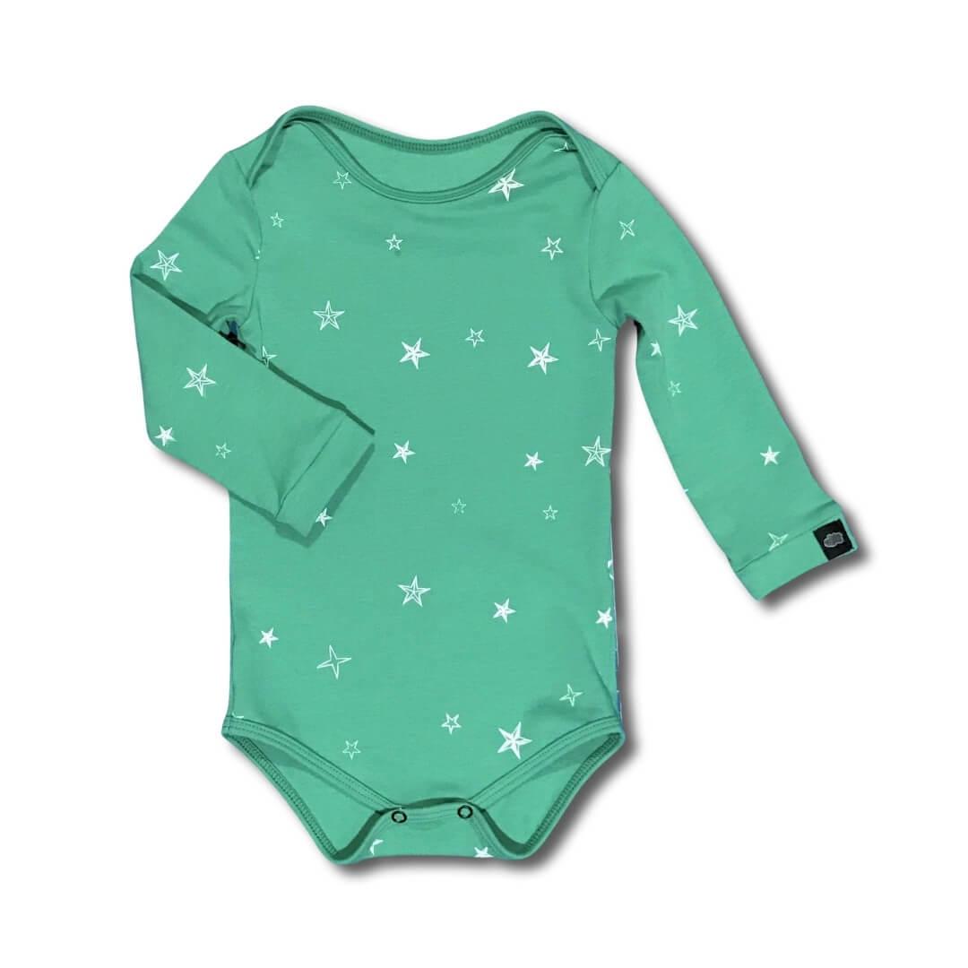Body Bebê Stars Verde Manga Longa