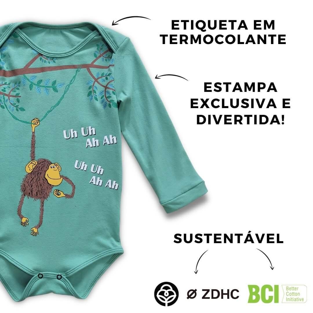 Body Bebê Verde Macaco Manga Longa
