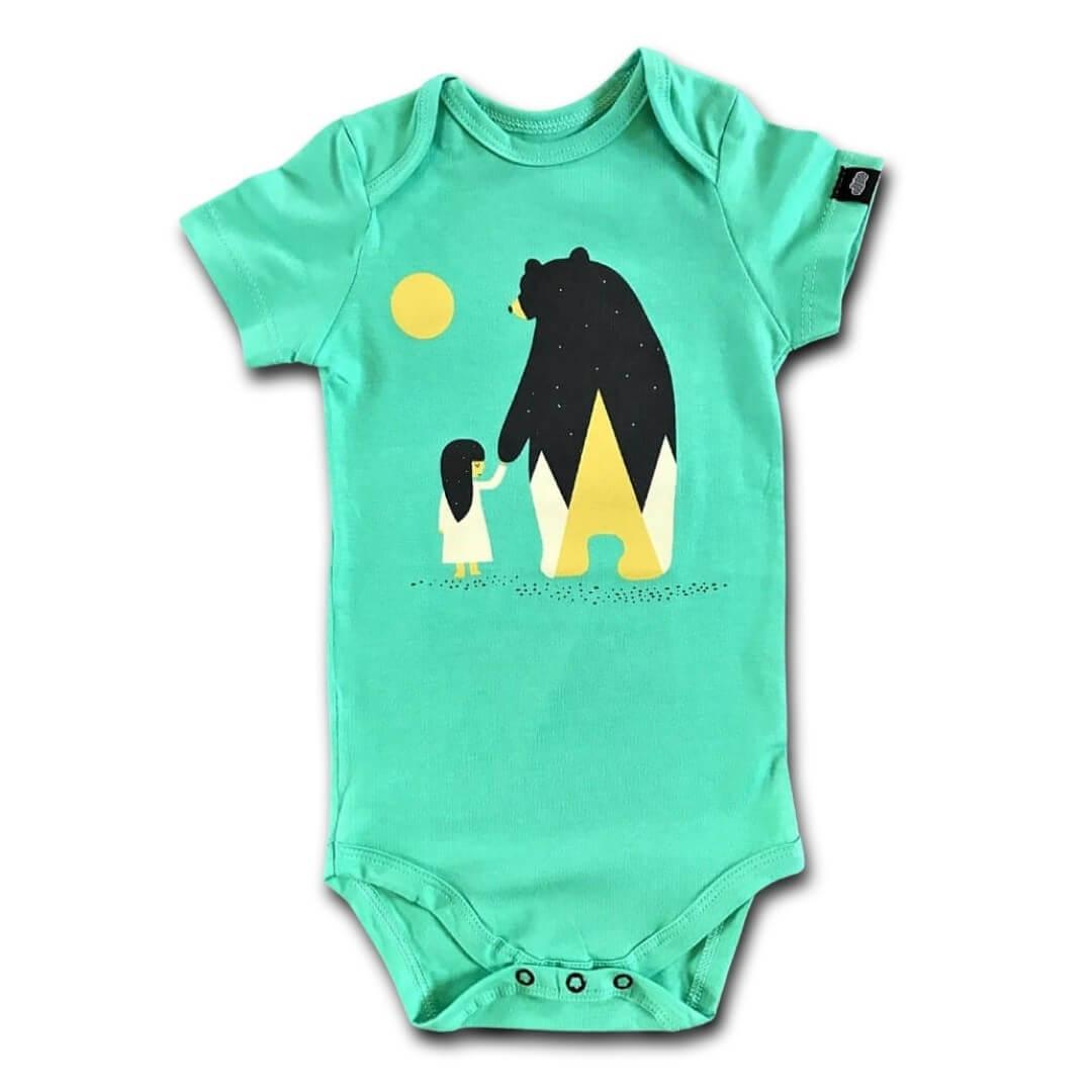 Body Bebê Verde Menina e Urso Manga Curta