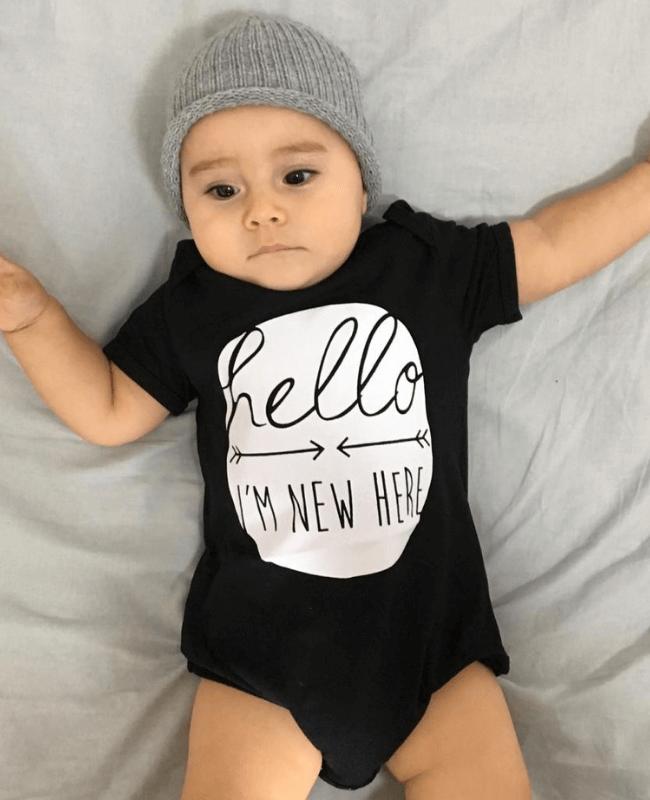 Body para bebês Preto Hello
