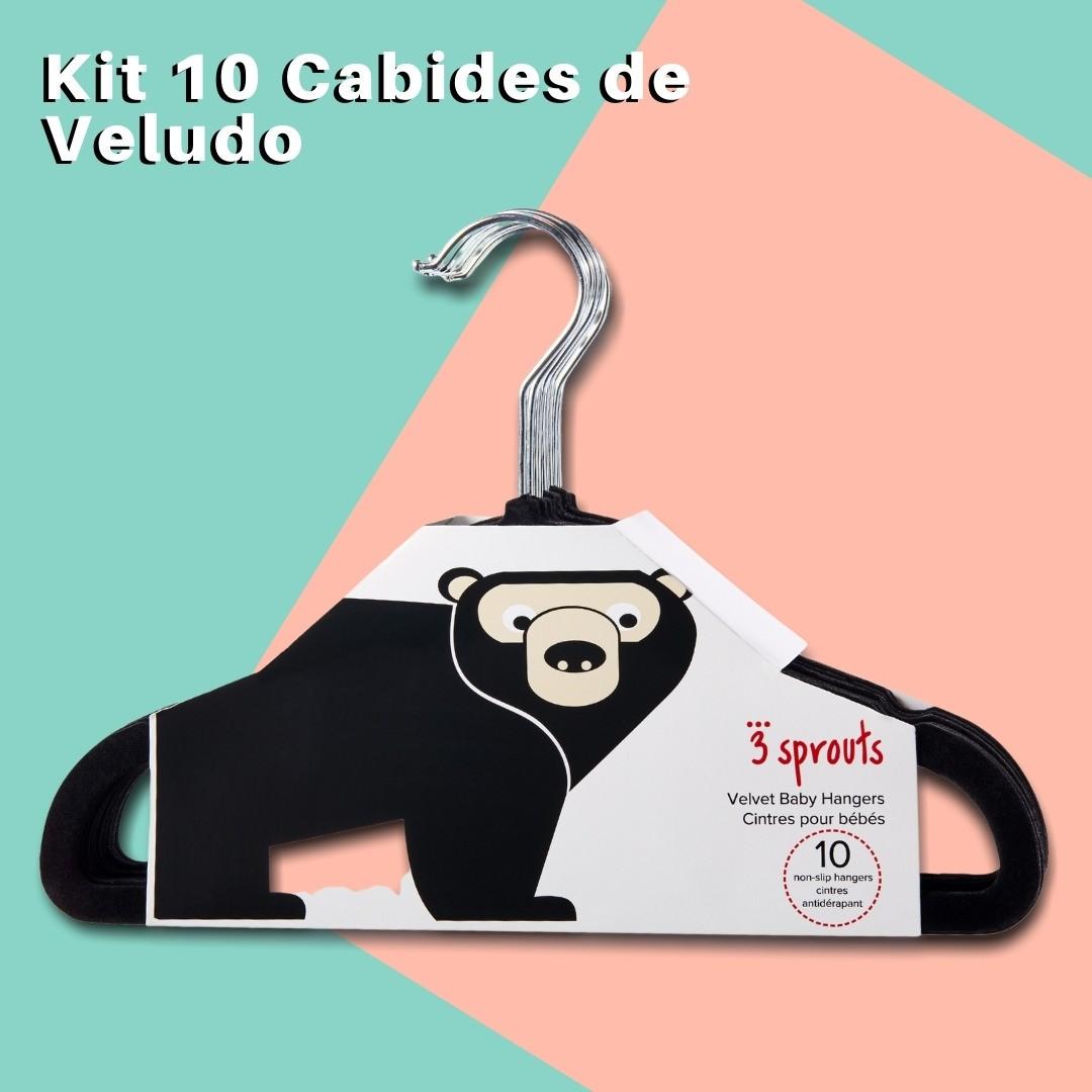 Cabide Infantil 3 Sprouts Veludo Urso Preto