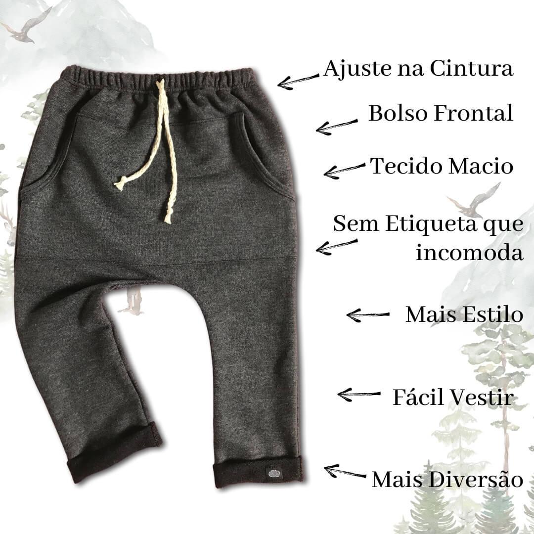 Calça Infantil Saruel Chumbo com ajuste na cintura