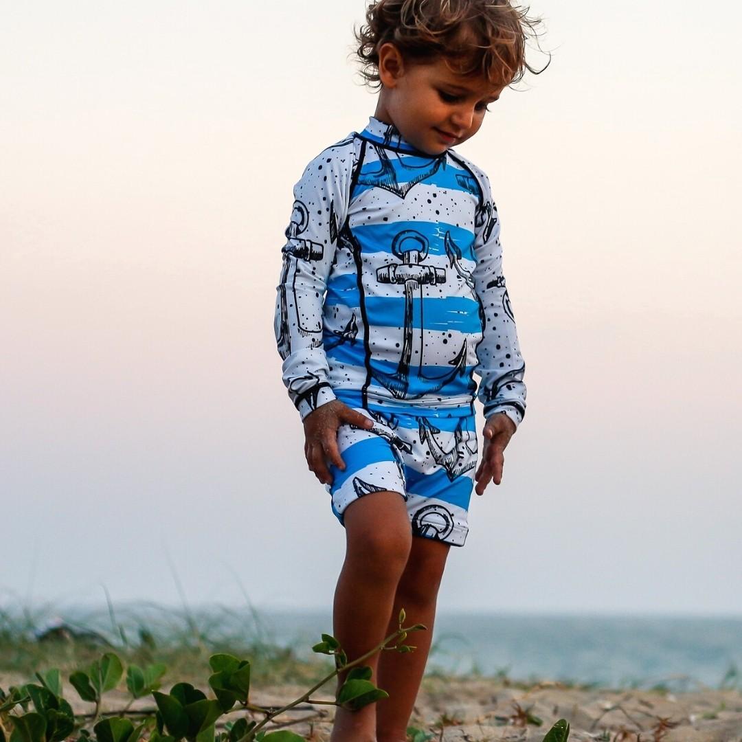 Camisa Infantil Proteção Solar Âncora + Sunga