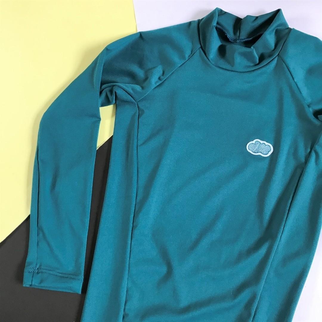 Camiseta Infantil Proteção Solar UV50 Azul Pavão