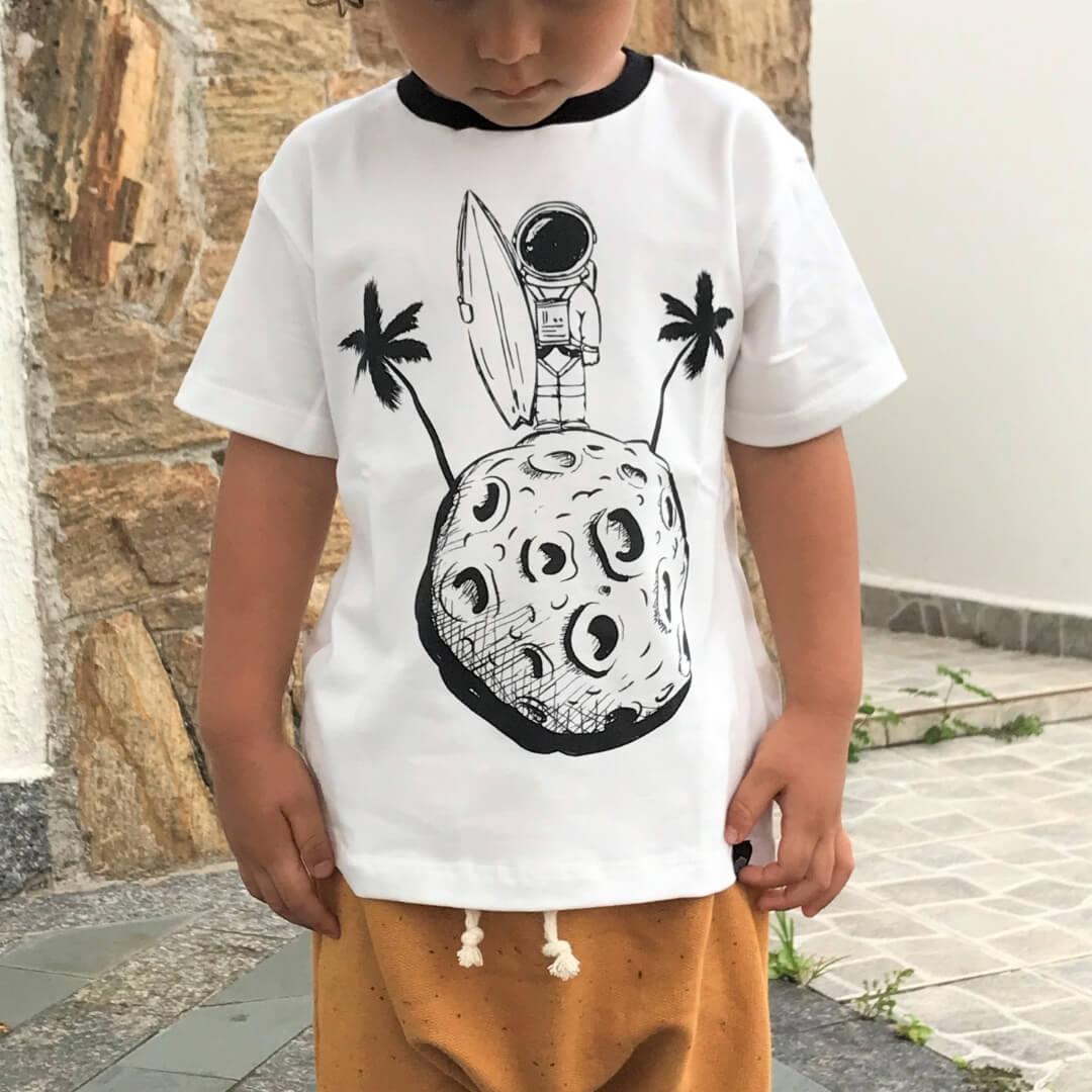 Camiseta Infantil Astronauta Off White