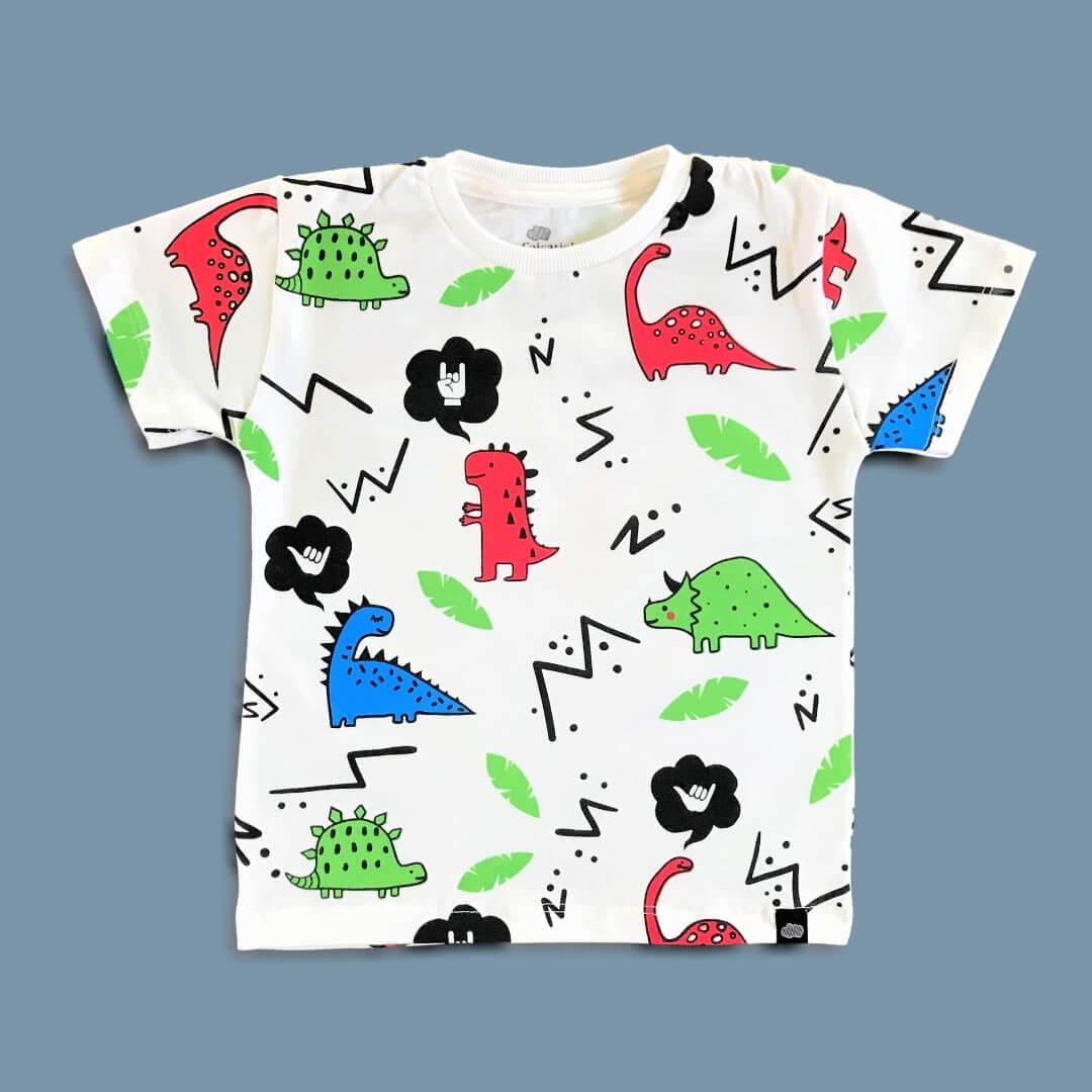 Camiseta Infantil Dinossauros Manga Curta