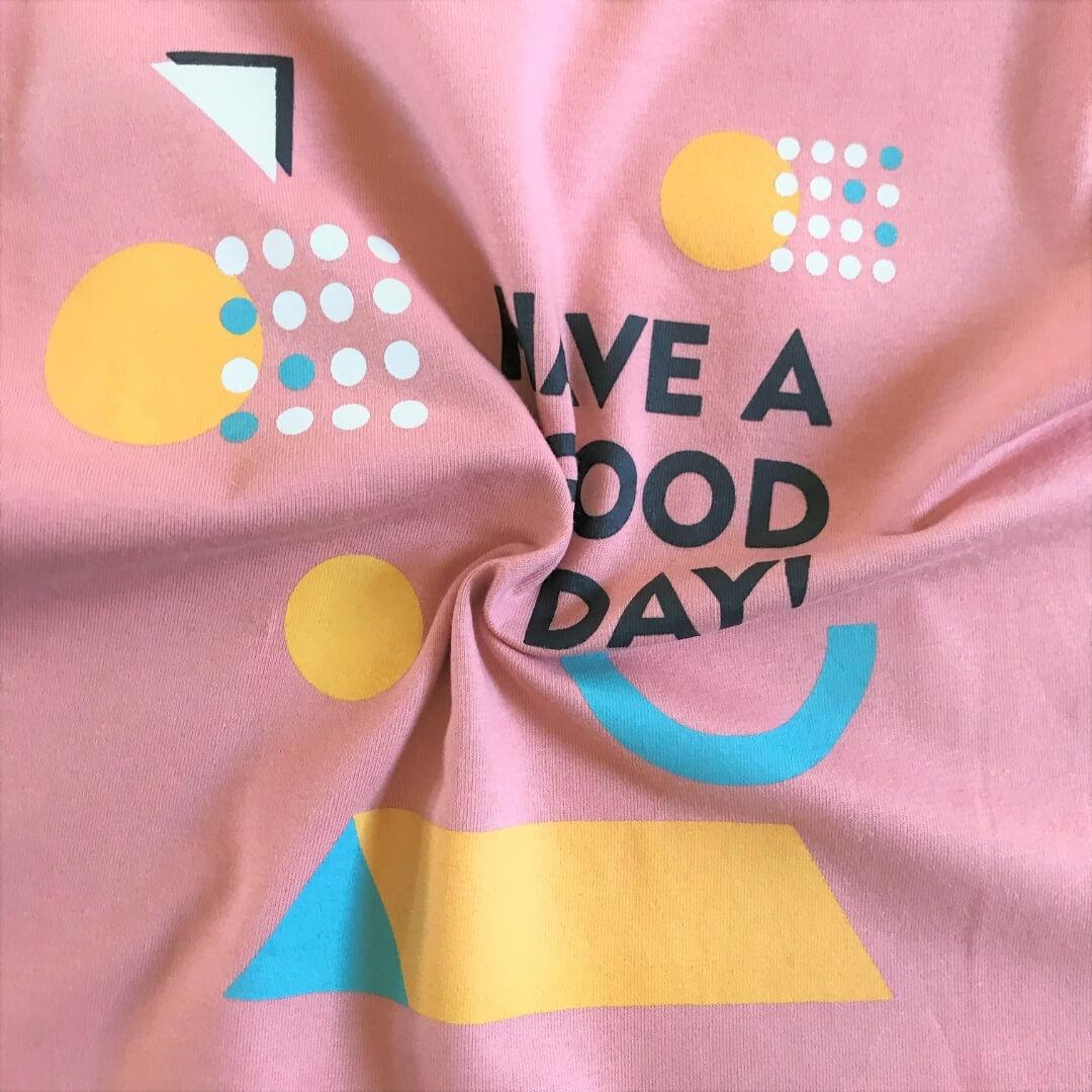 Camiseta Infantil Manga Curta Have  Good Day Rosa