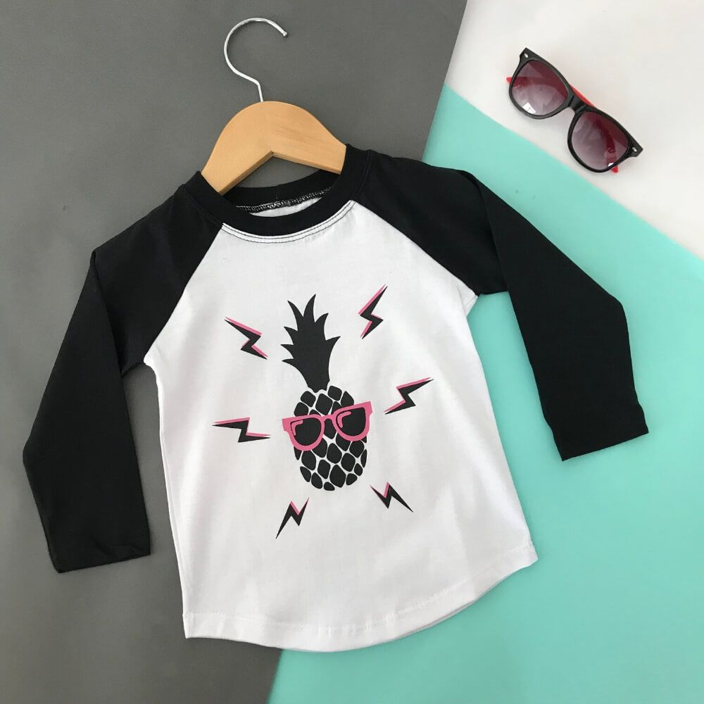 Camiseta Infantil Manga Longa Abacaxi
