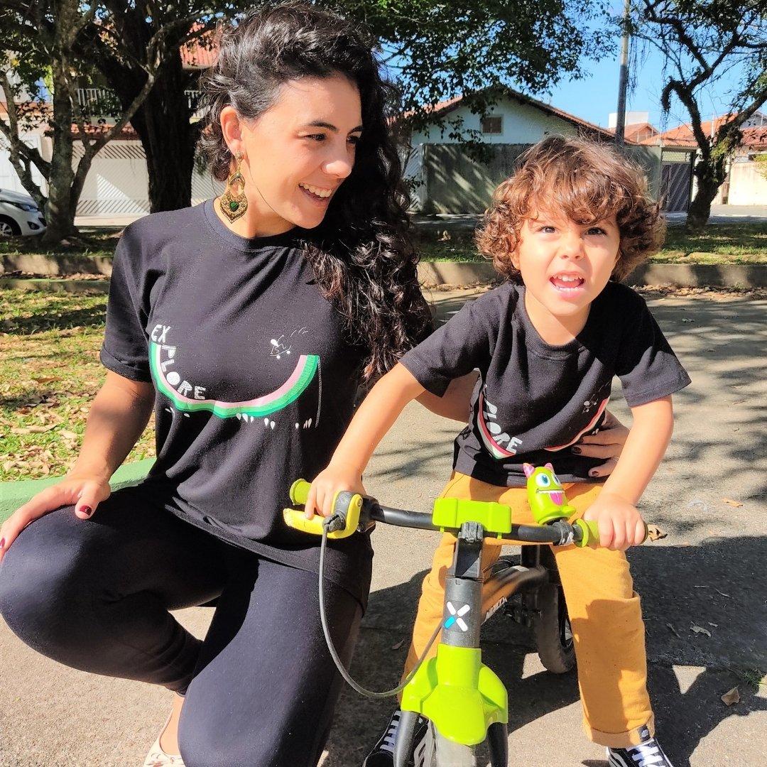 Camiseta Infantil Preta Explore Skate Melancia