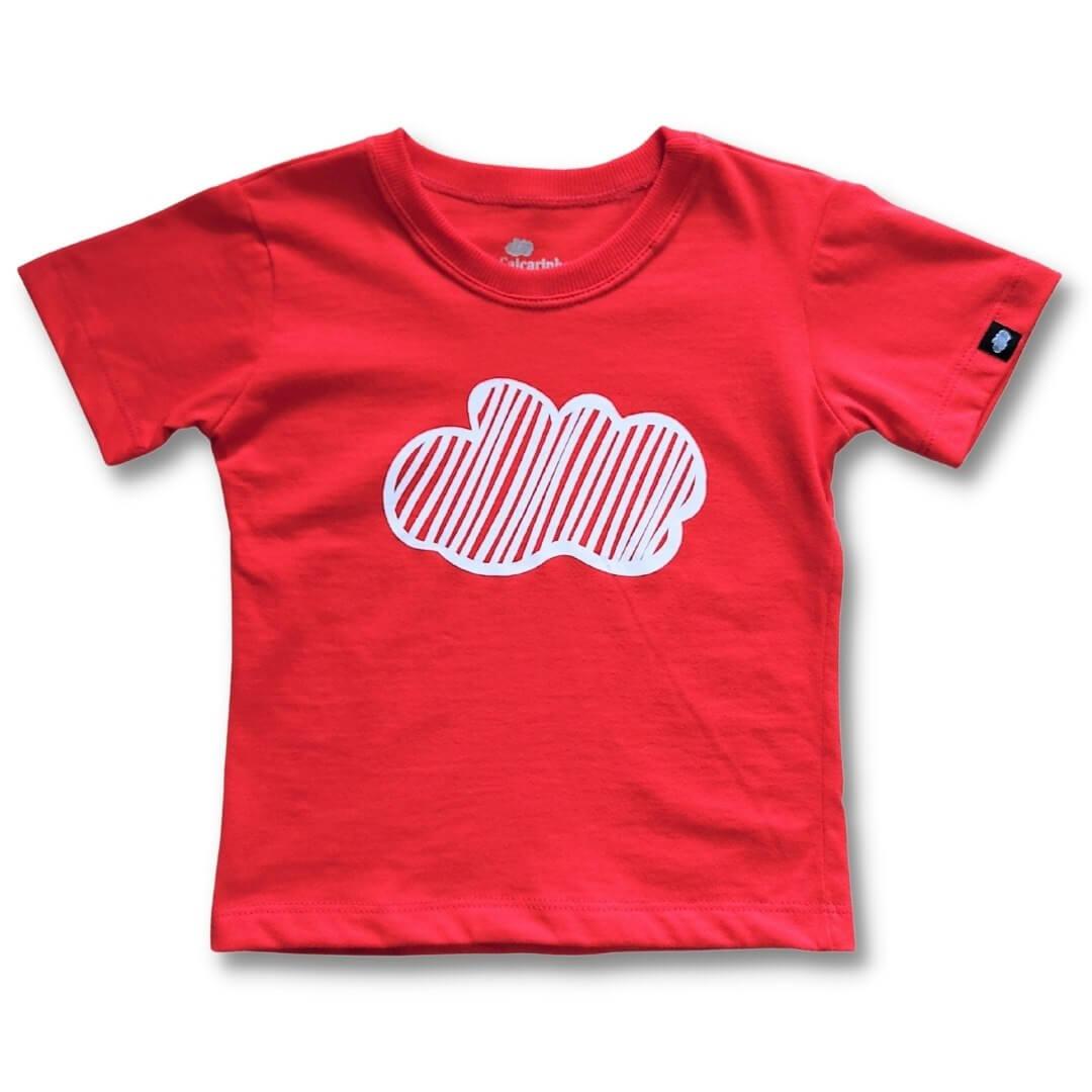 Camiseta Infantil Vermelha Nuvem
