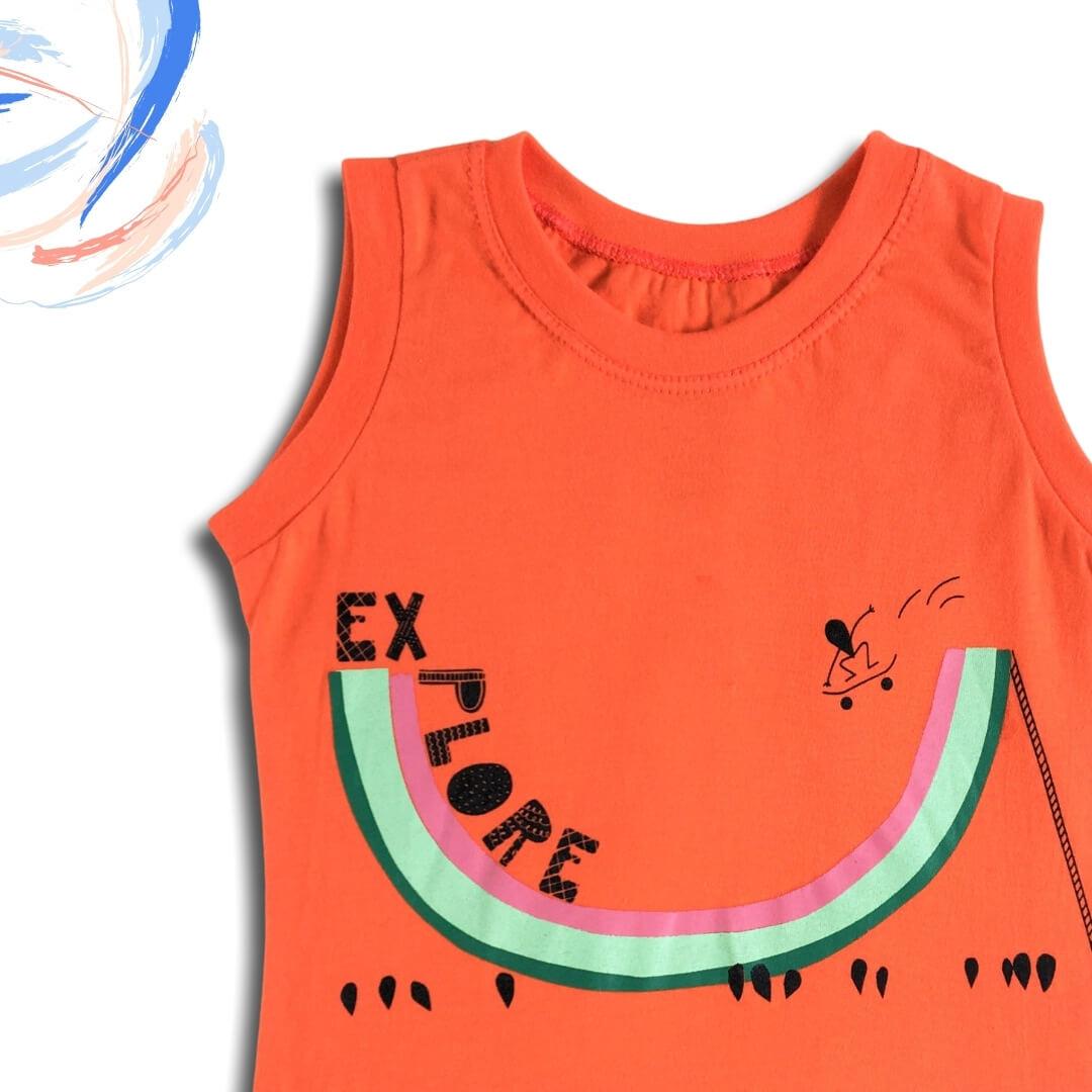 Camiseta Infantil Laranja Regata Verão Explore