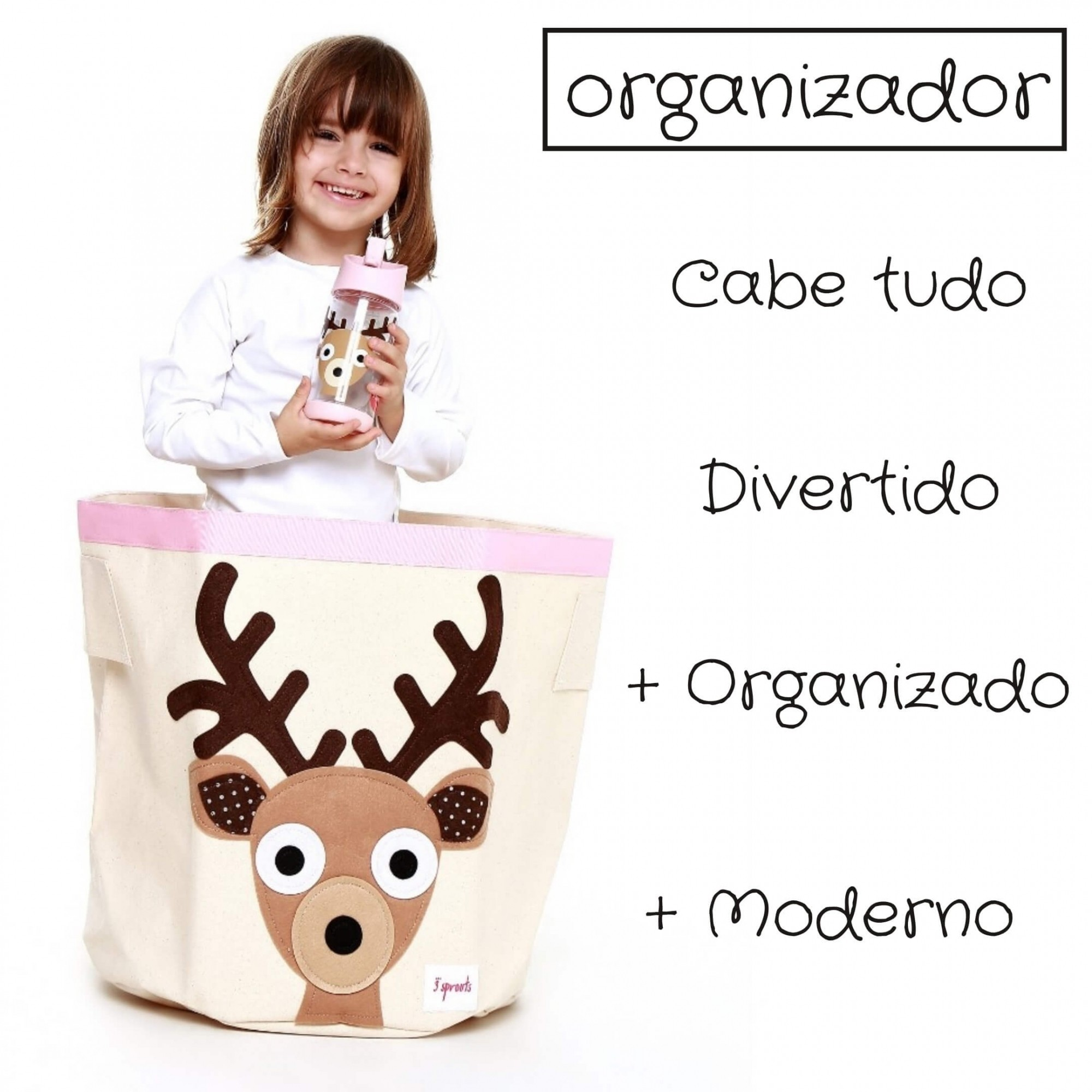 Cesto Organizador de Brinquedos Alce Divertido