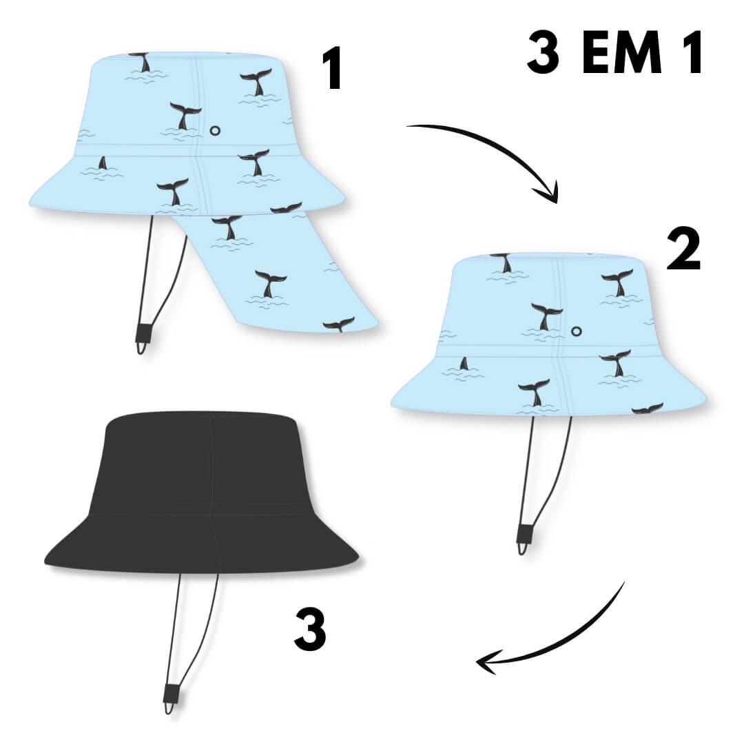 Chapéu Infantil Dupla Face Proteção UV50+ Azul Baleia
