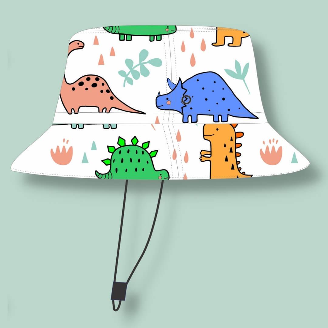 Chapéu Infantil Dupla Face Proteção UV50+ Dino Branco
