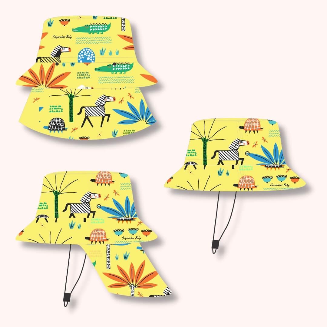 Chapéu Infantil Dupla Face Proteção UV50+ Safari Amarelo