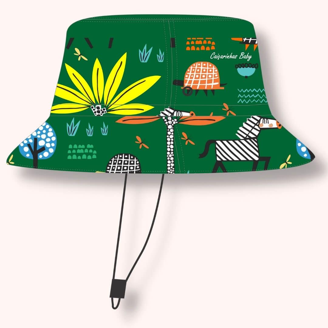Chapéu Infantil Dupla Face Proteção UV50+ Safari Verde