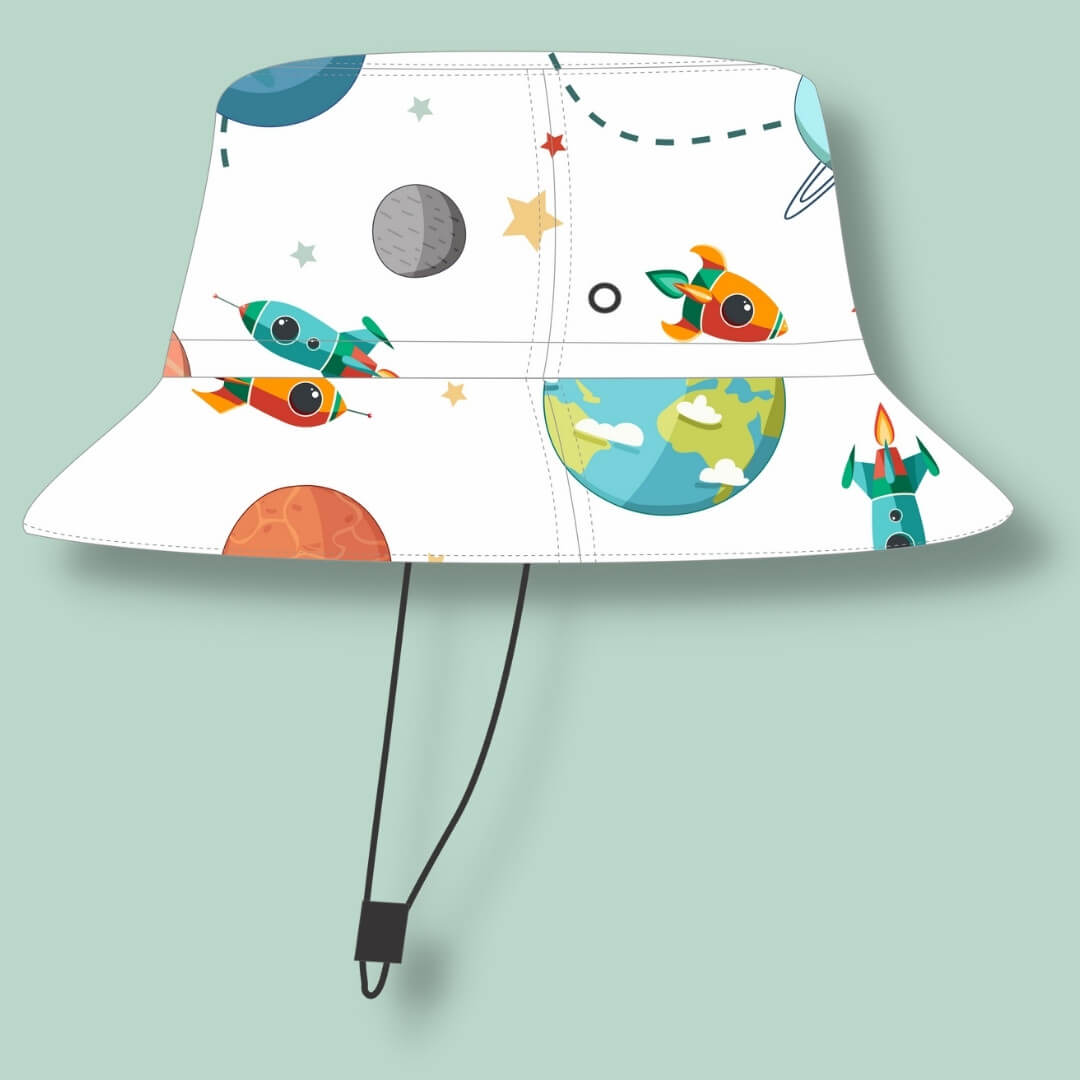 Chapéu Infantil Dupla Face Proteção UV50+ Universo Branco