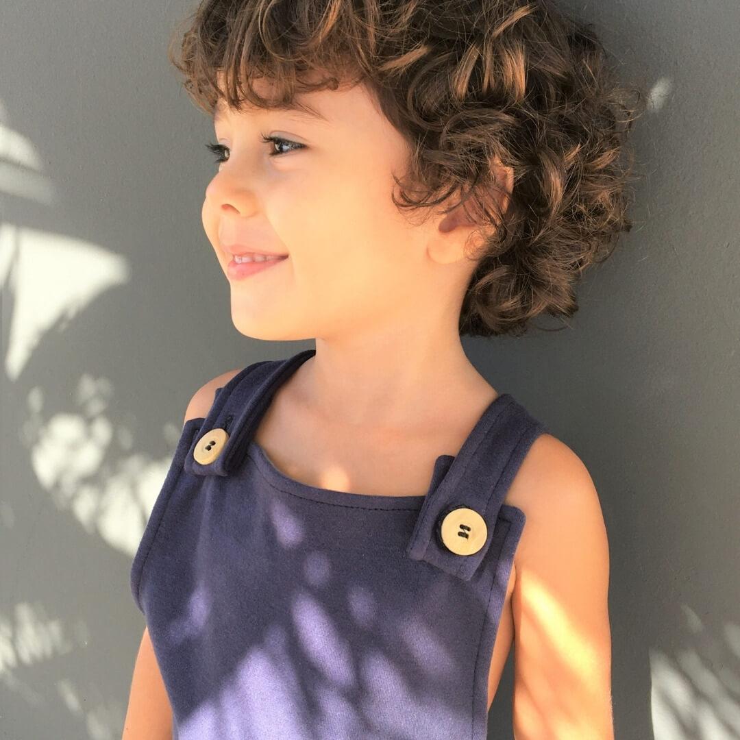 Jardineira Infantil com Alça Azul Marinho
