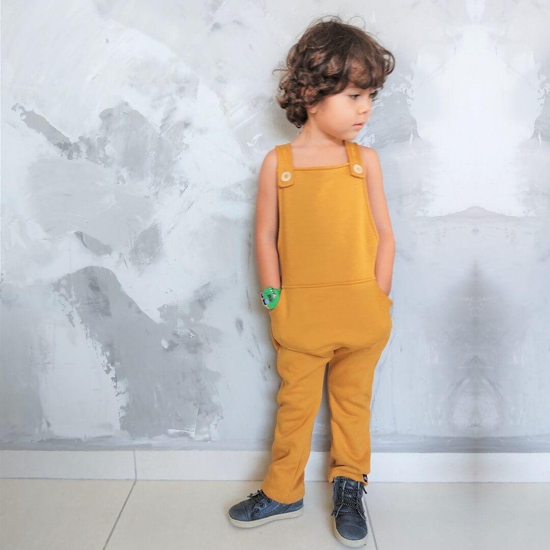 Jardineira Infantil com Alça Mostarda