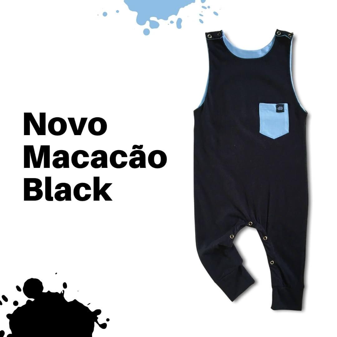 Kit 2 Macacões Infantil Regata Baleias + Preto Liso