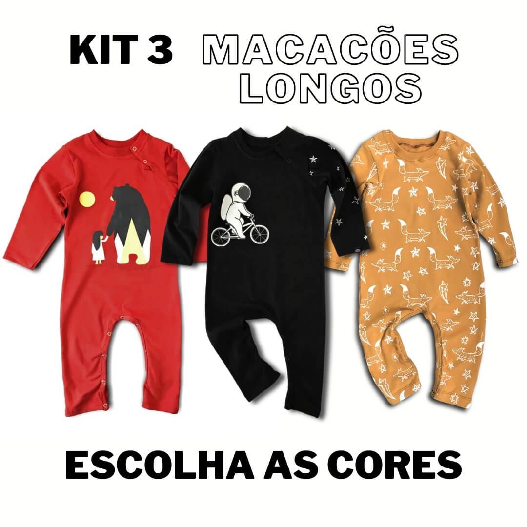 Kit 3 Macacões Longos Monte o seu