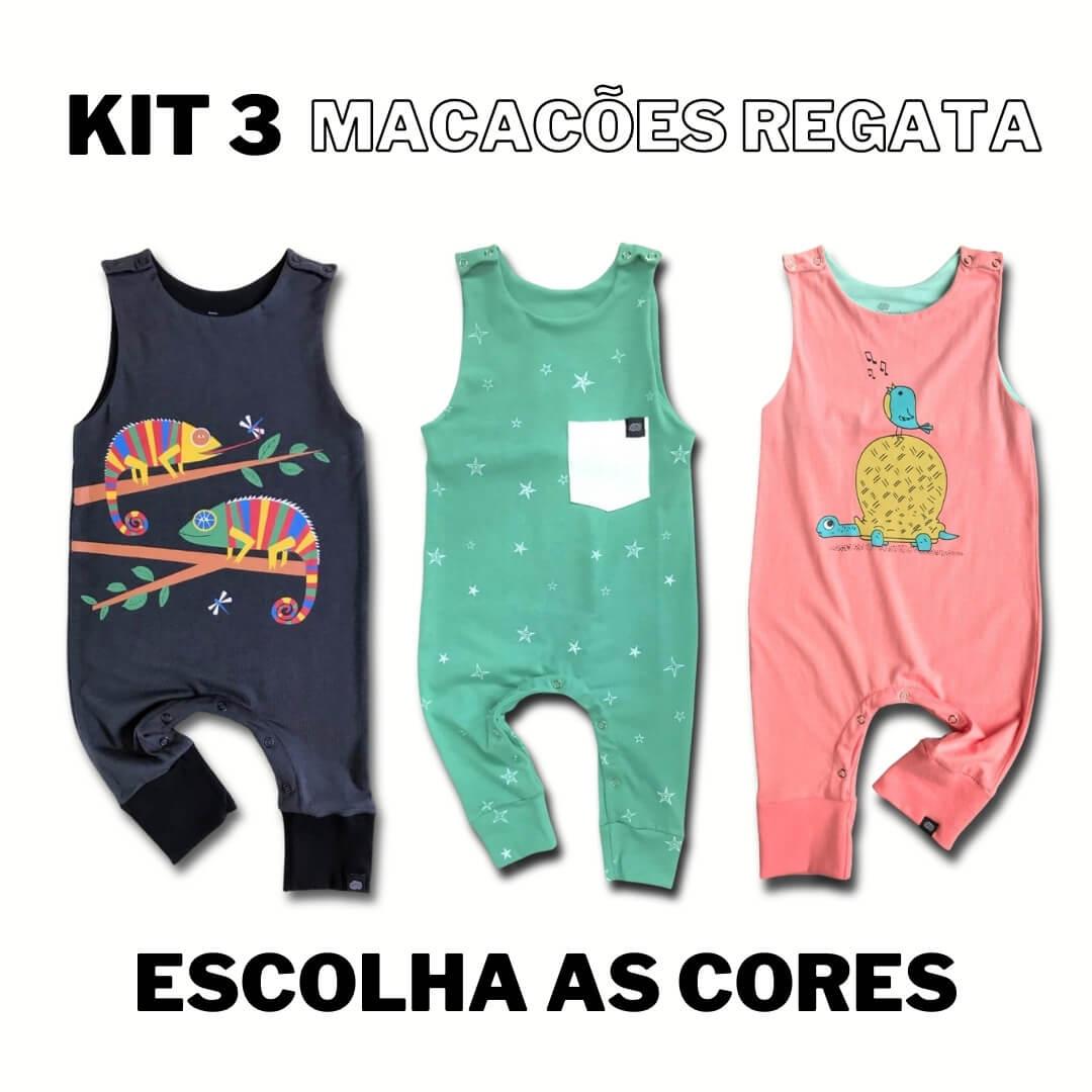 Kit 3 Macacões Regata Escolha sua cor