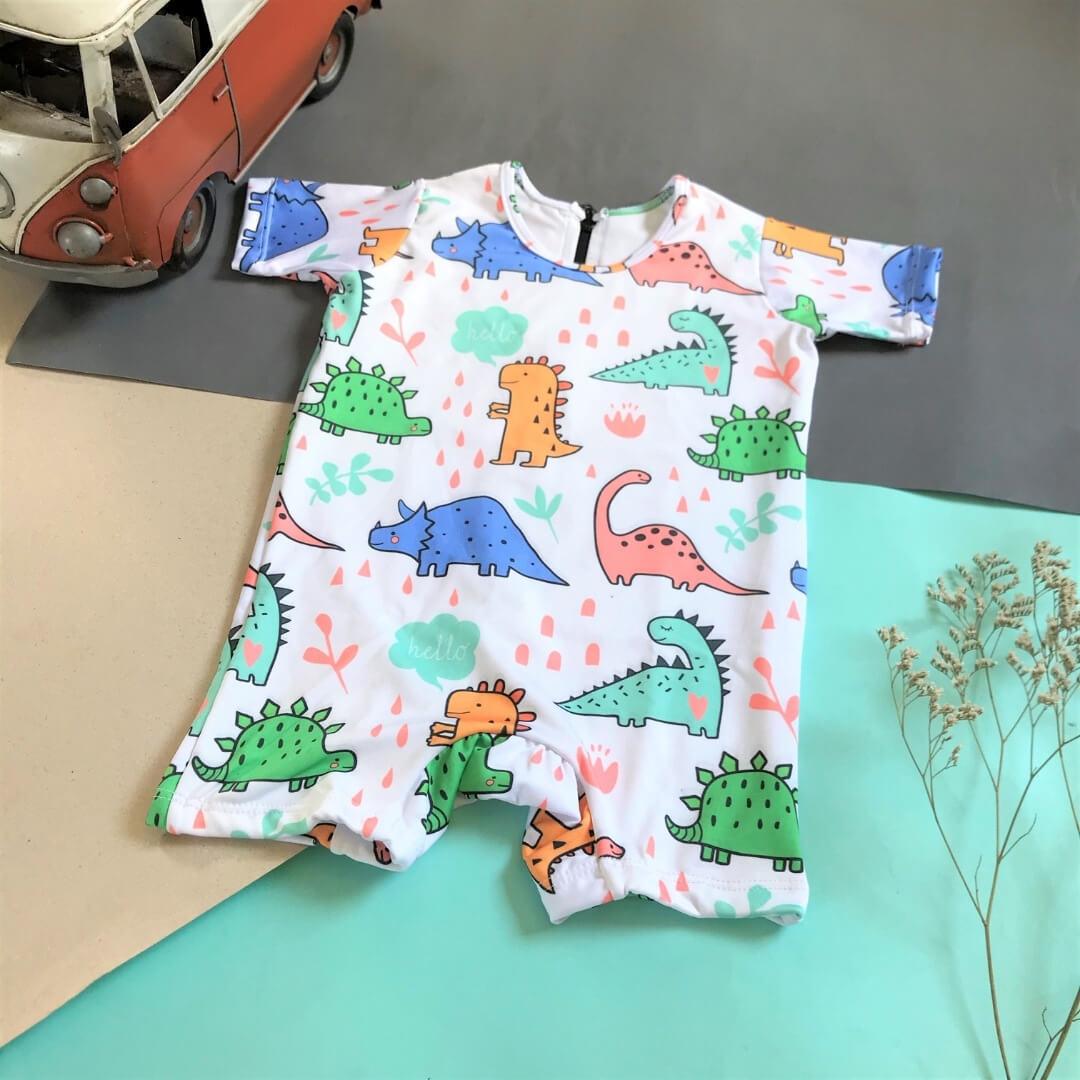Macacão Bebê Proteção Solar UV 50+ Dinossauros