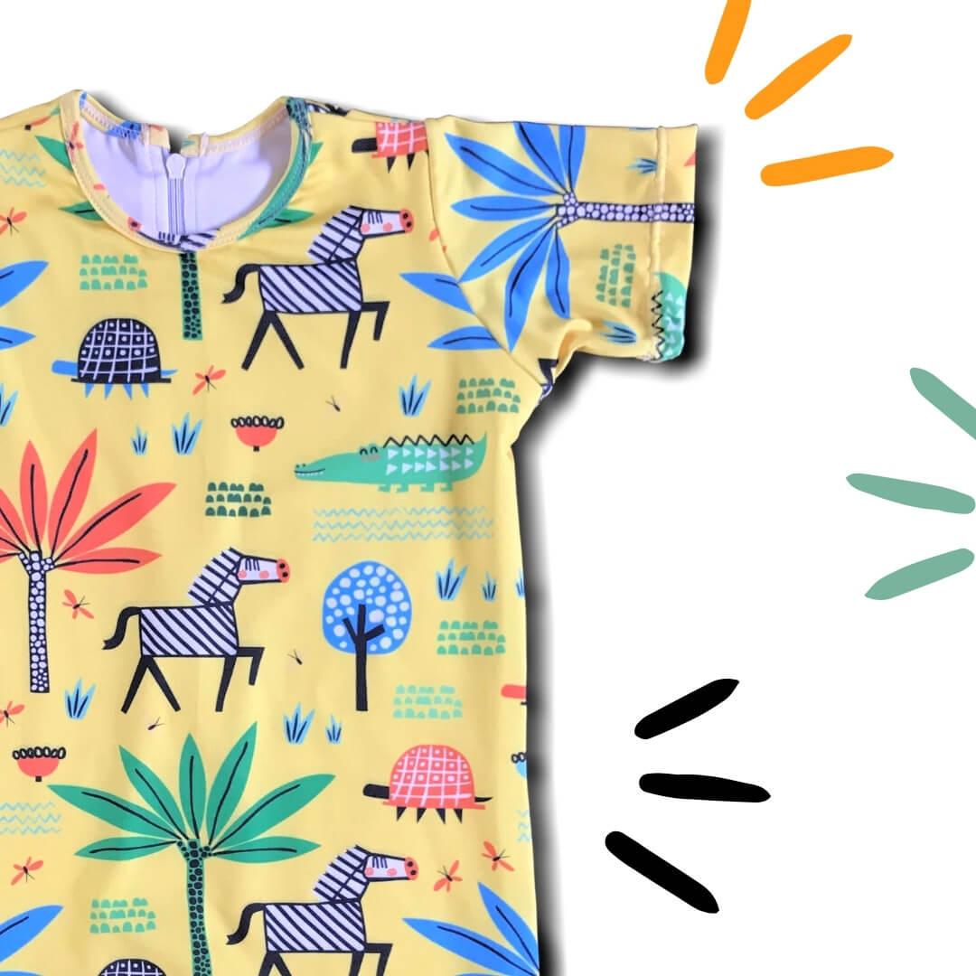 Macacão Bebê Proteção Solar UV 50+ Safari