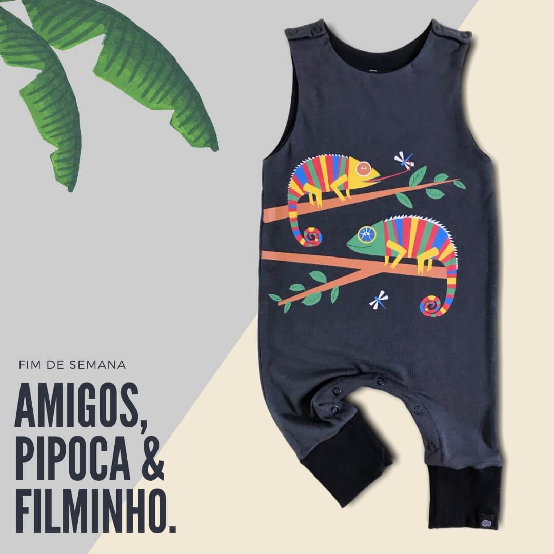 """Macacão Bebê Regata Camaleão """"O Sumido"""""""