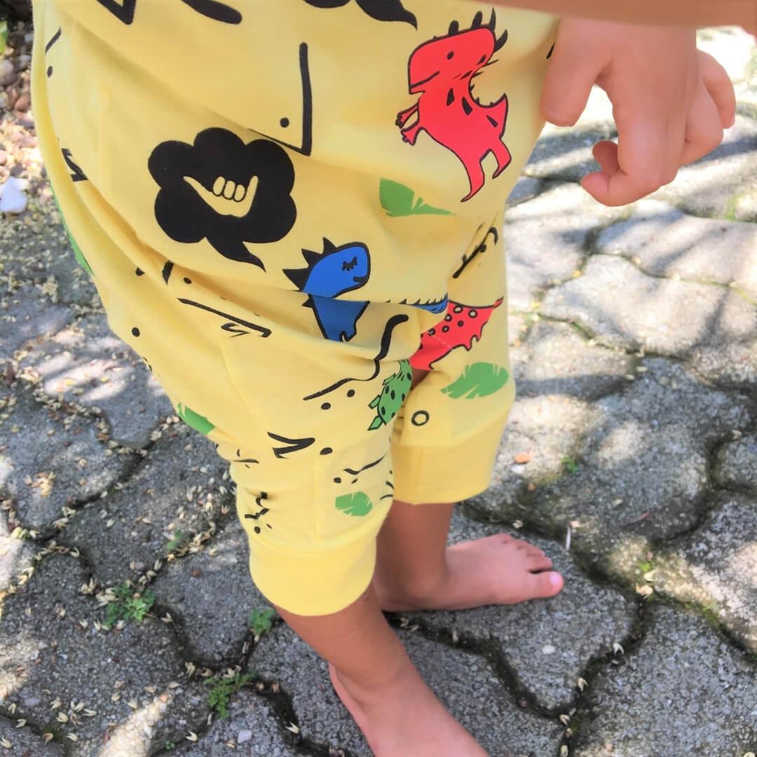 Macacão Bebê Regata Dinossauro Dino amarelo