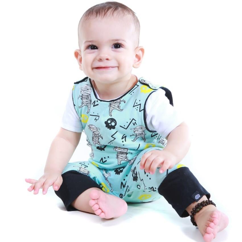 Macacão Bebê Regata Verde Claro Unissex Múmias Divertidas