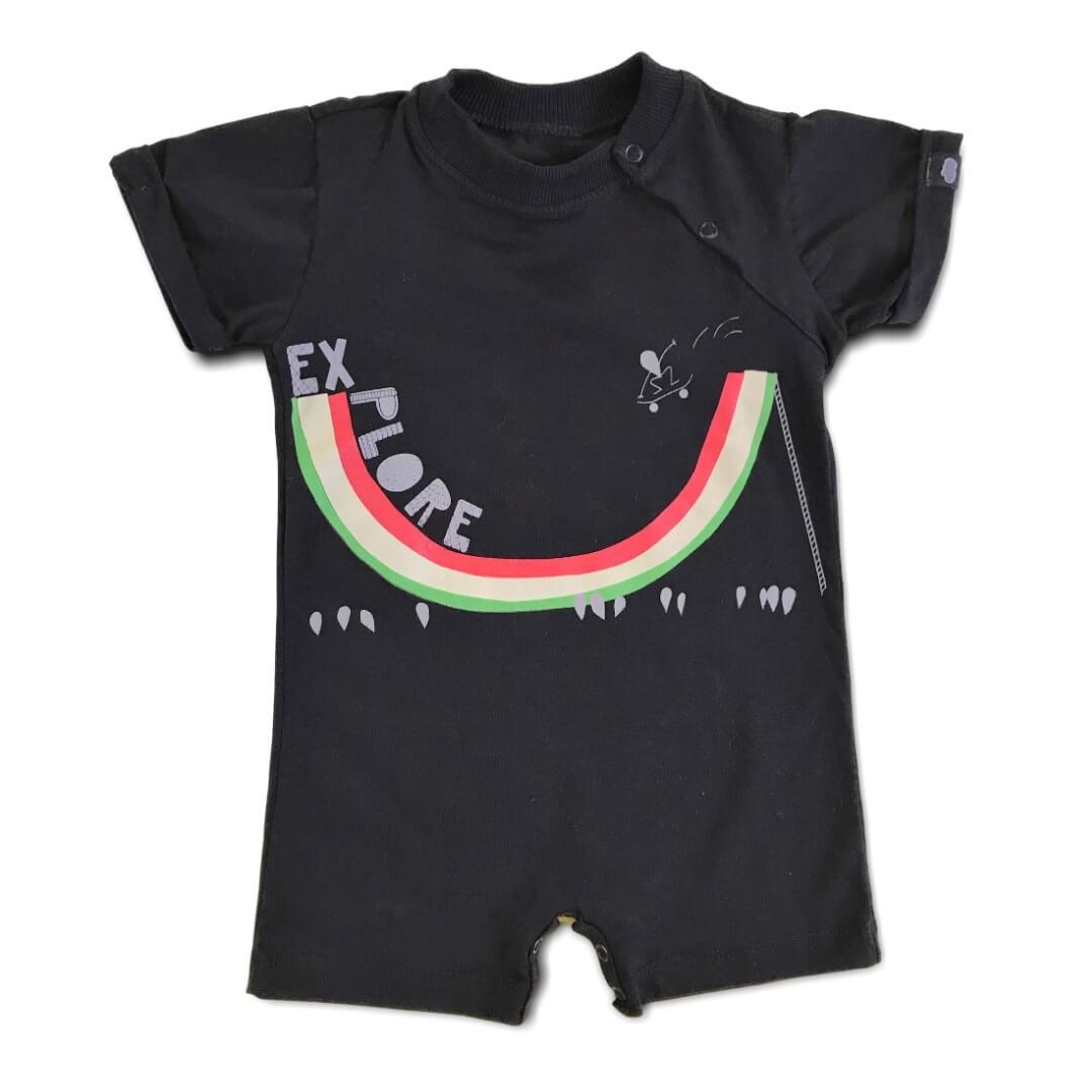 Macacão Curto Bebê Explore Preto