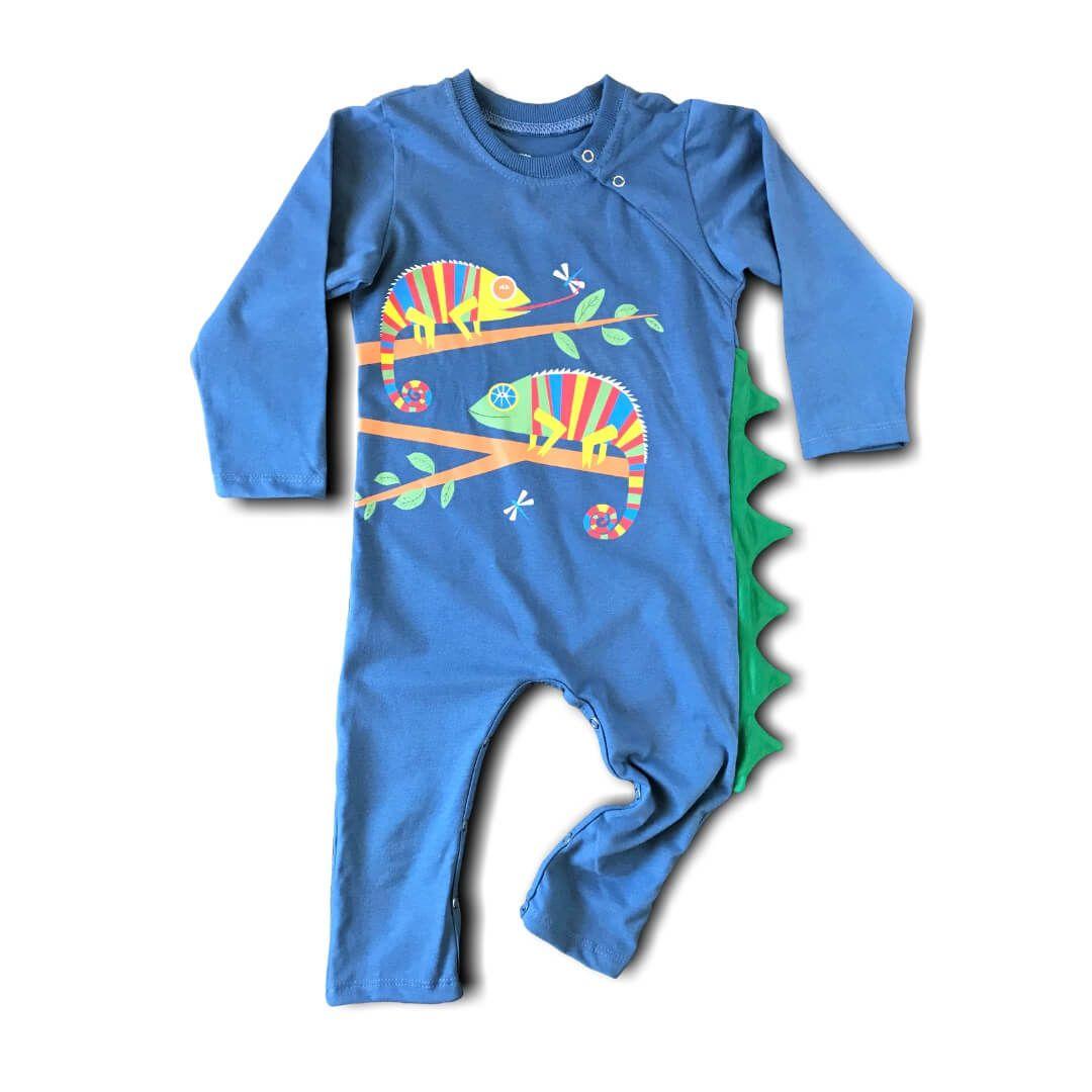 Macacão Infantil Longo Azul Camaleão O Sumido
