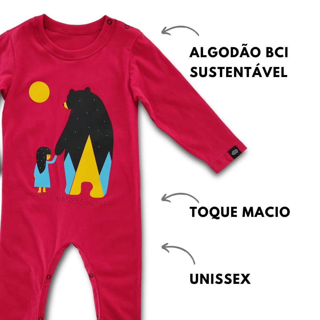 Macacão Infantil Longo Bordô Nina and Bear