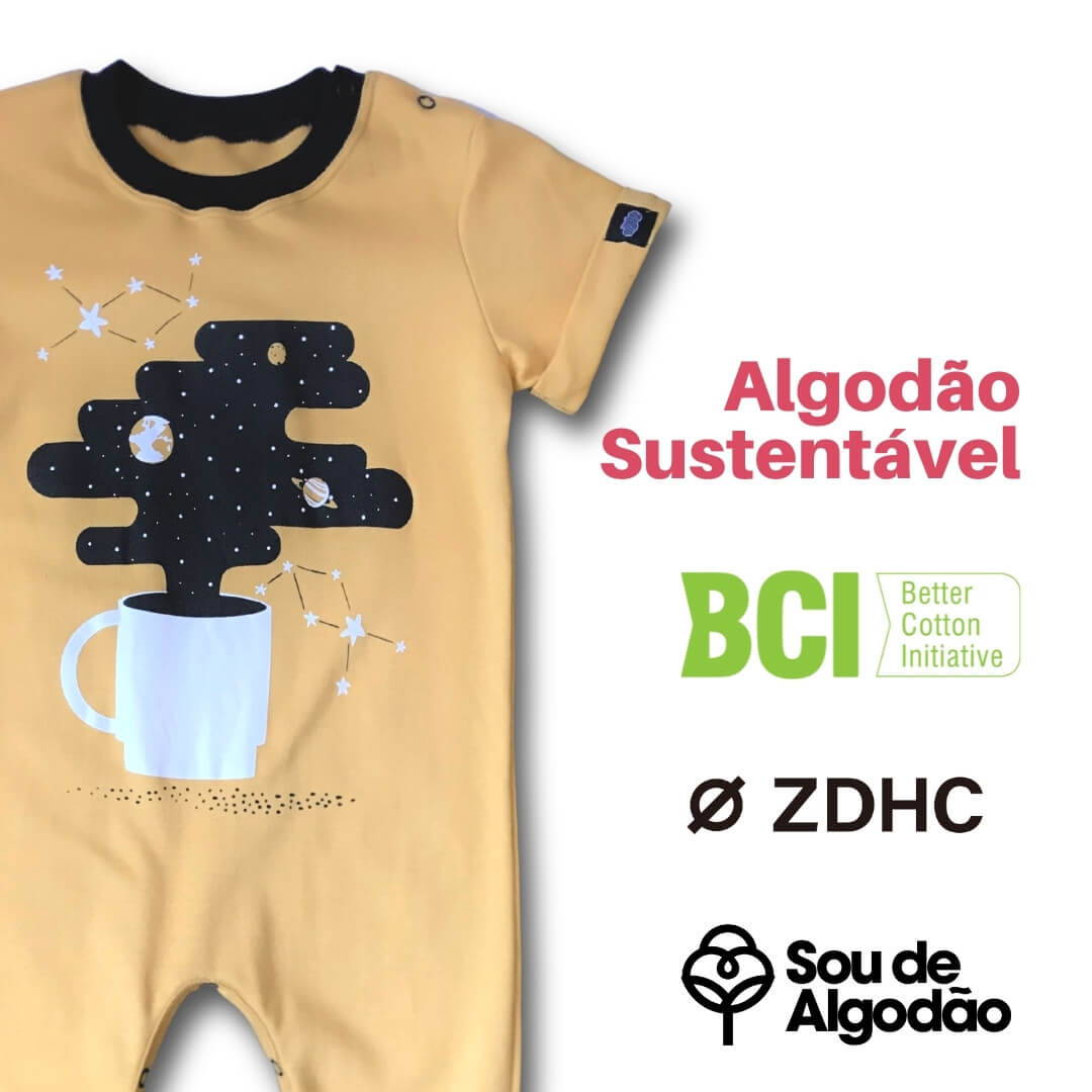 Macacão Infantil Saruel Café amarelo Manga curta