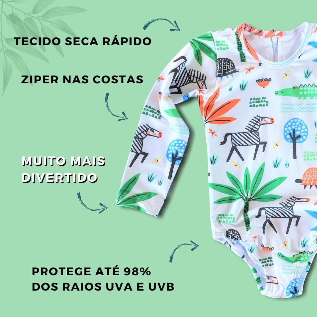 Maiô Infantil com Manga Longa Proteção UV 50+ Safari Branco