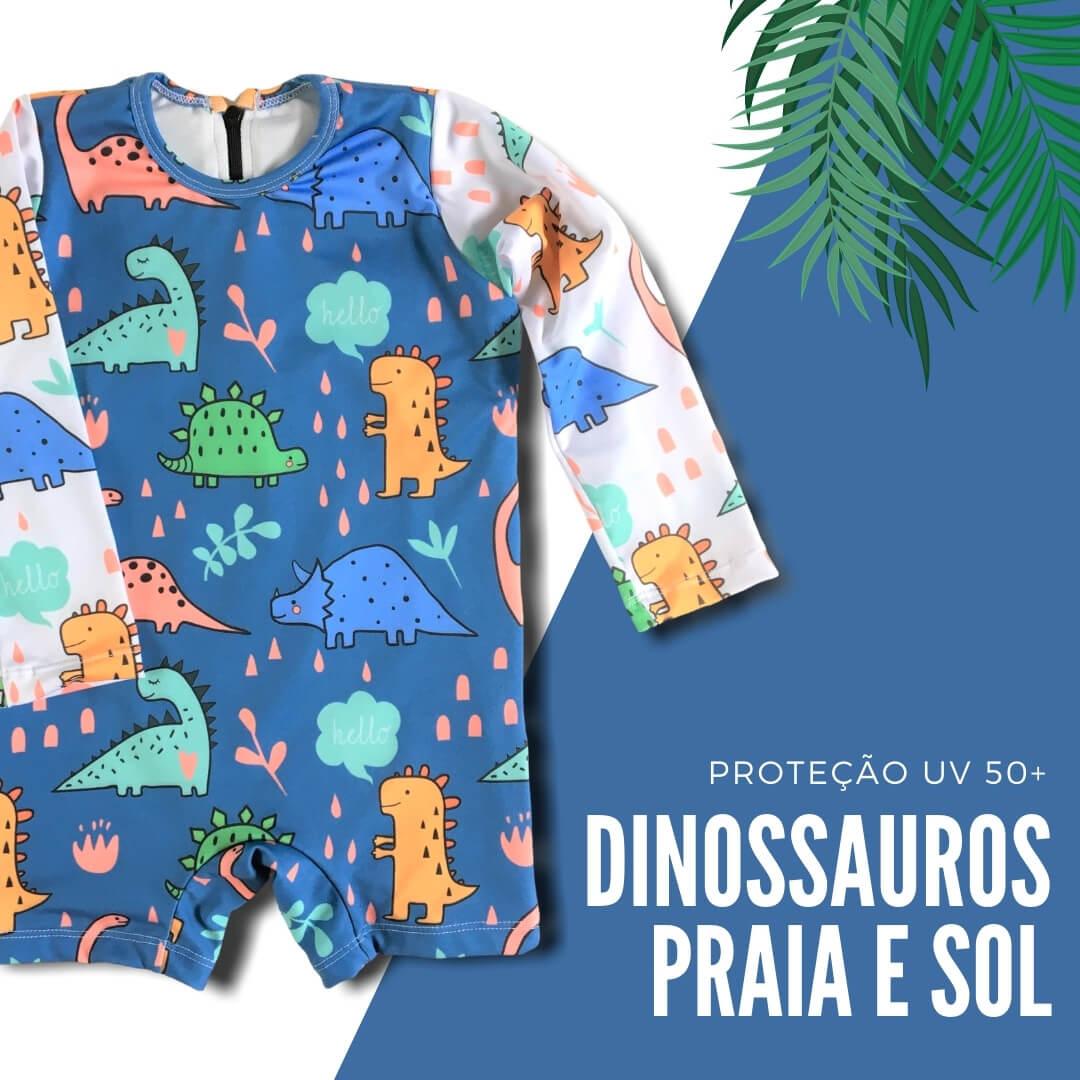 Moda Praia Bebê Macacão com Manga Longa Dinossauros