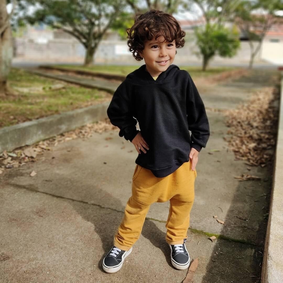 Moletom Infantil Preto Básico com capuz