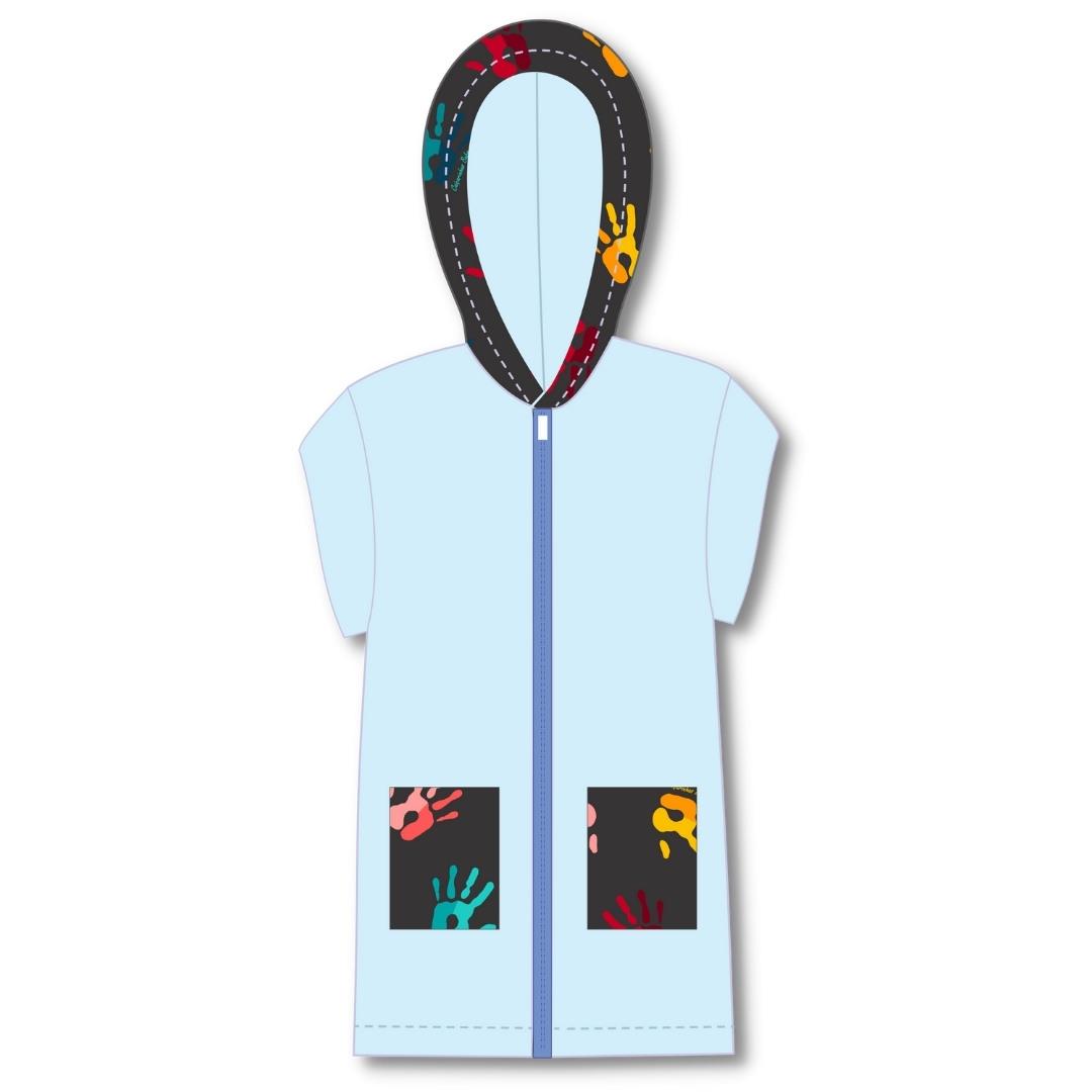 Roupão Infantil Com Capuz Atoalhado Mãozinhas Azul