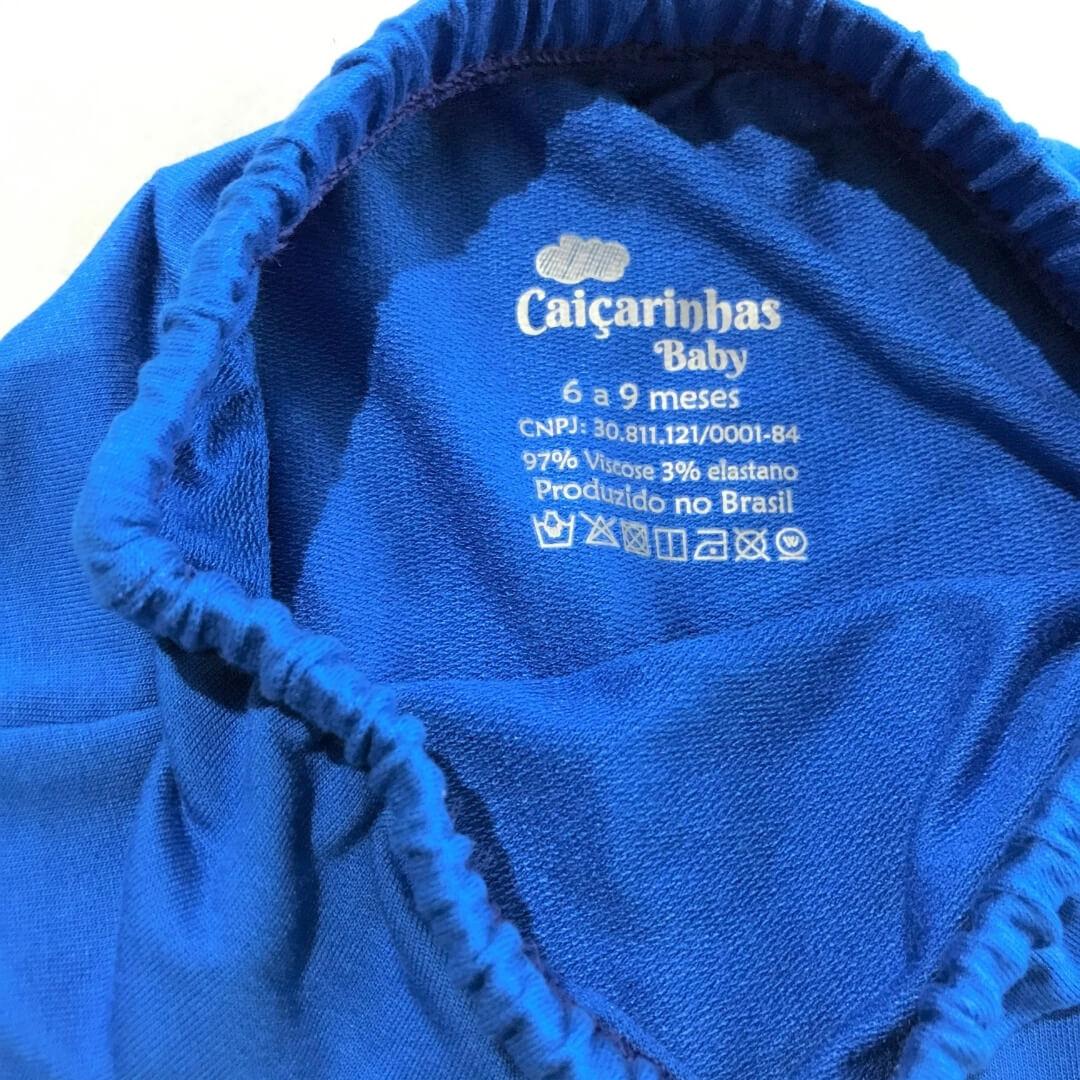 Short Saruel Azul com Ajuste na Cintura Tecido Leve