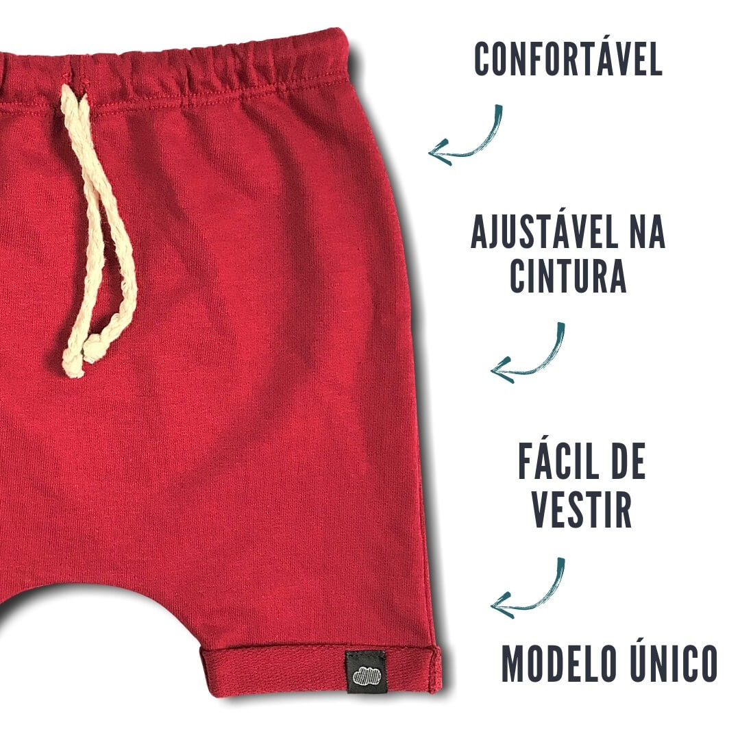 Short Saruel Infantil Vermelho