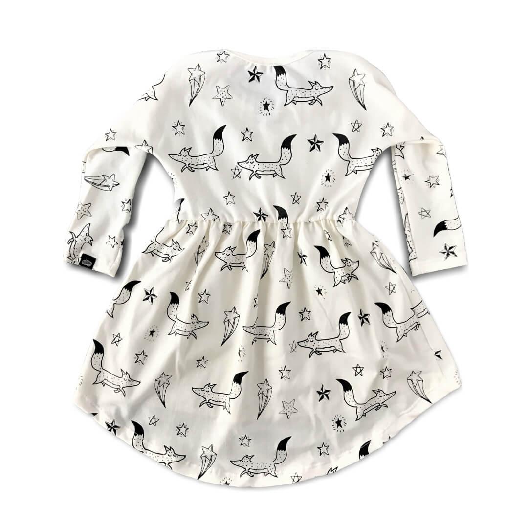 Vestido Infantil Manga Longa Menina Bege Raposinhas nas Estrelas
