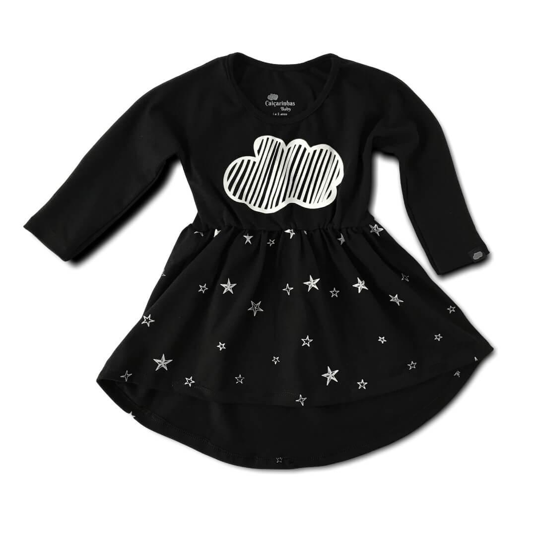 Vestido Infantil Manga Longa Menina Preto Nuvens Stars