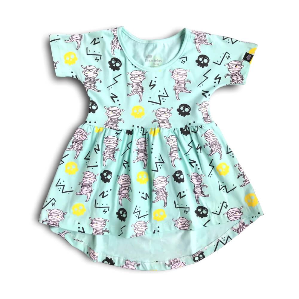 Vestido Infantil Verde Claro Múmias Divertidas