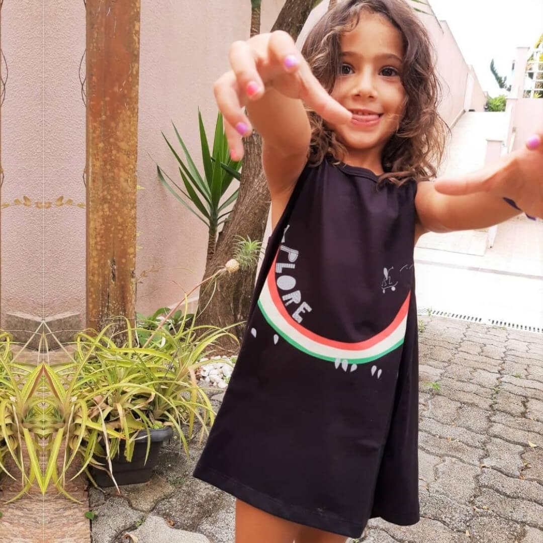 Vestido infantil Nadador Preto Explore