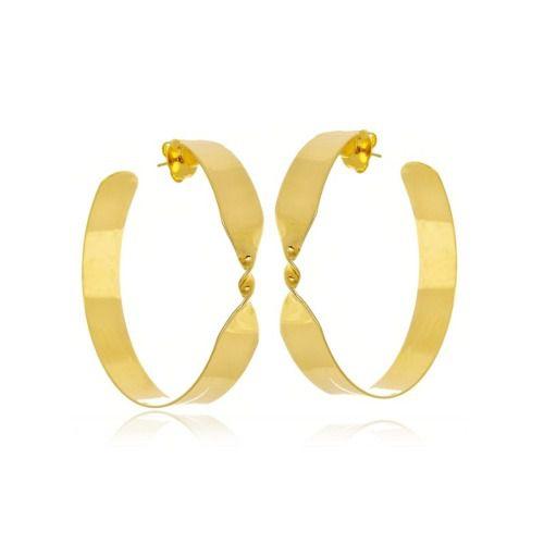 Argola Le Diamond Chapa Dourada