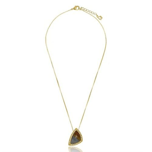 Colar Le Diamond Pedra Natural Dourado