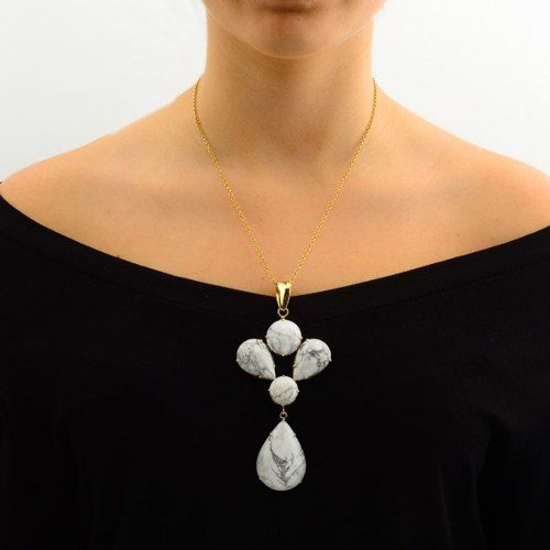 Colar Le Diamond 5 Pedras Naturais