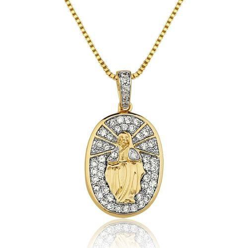 Colar Le Diamond Nossa Senhora Das Graças Pequeno Dourado